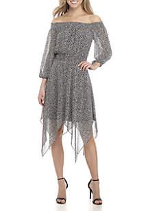 Off-The-Shoulder Dot Print Handkerchief Hem Dress