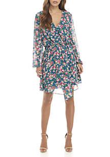 Floral Surplice Mini Dress