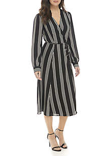 Striped Wrap Midi Dress