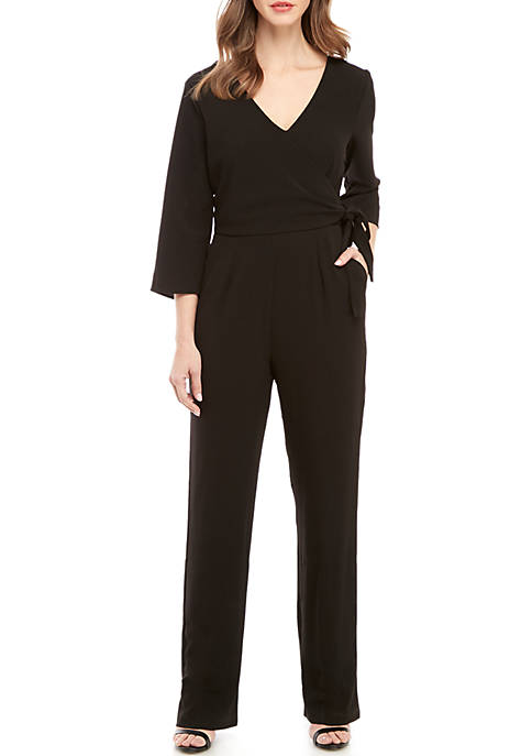 Charles Henry 3/4 Sleeve Faux Wrap Jumpsuit