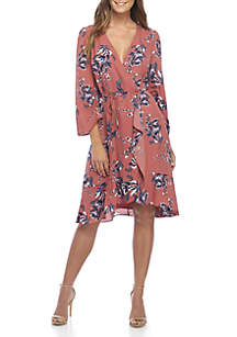 3/4 Ruched Sleeve Floral Wrap Dress