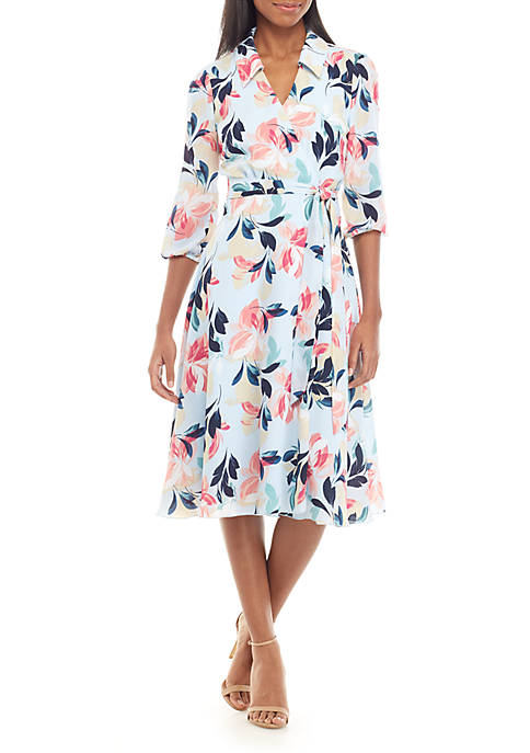 Charles Henry Long Sleeve Printed Wrap Dress