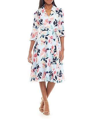 355415d98c2c Charles Henry. Charles Henry Long Sleeve Printed Wrap Dress
