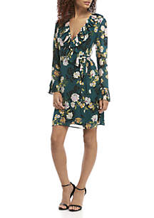 Long Sleeve Pleated Ruffle Wrap Floral Dress