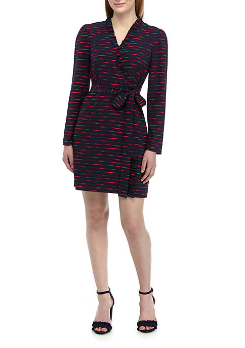 Charles Henry Long Sleeve Faux Wrap Dress