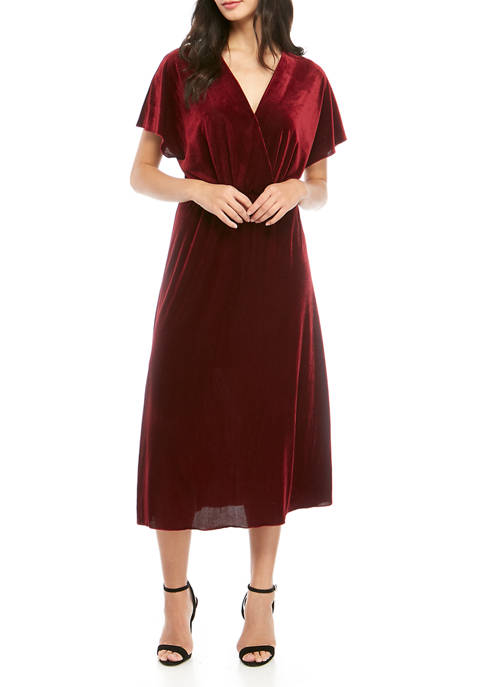 Womens Crossover V Neck Midi Dress