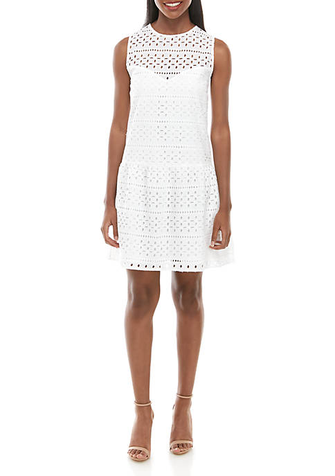 Charles Henry Sleeveless Drop Waist Shift Dress