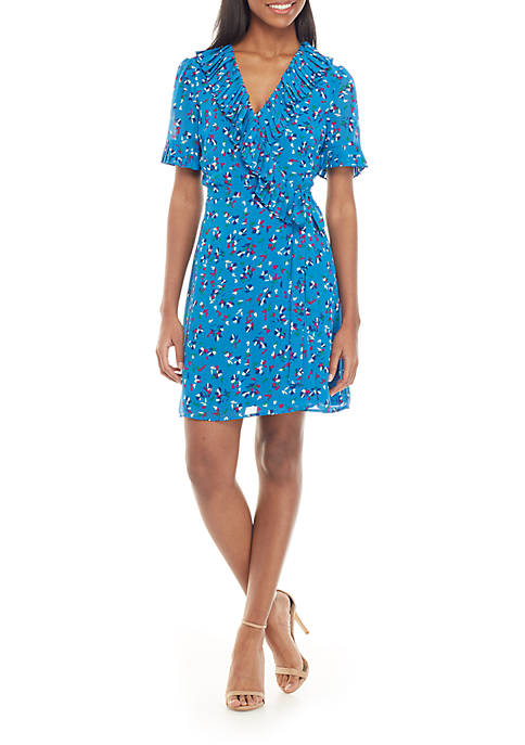 Charles Henry Short Sleeve Printed Wrap Dress