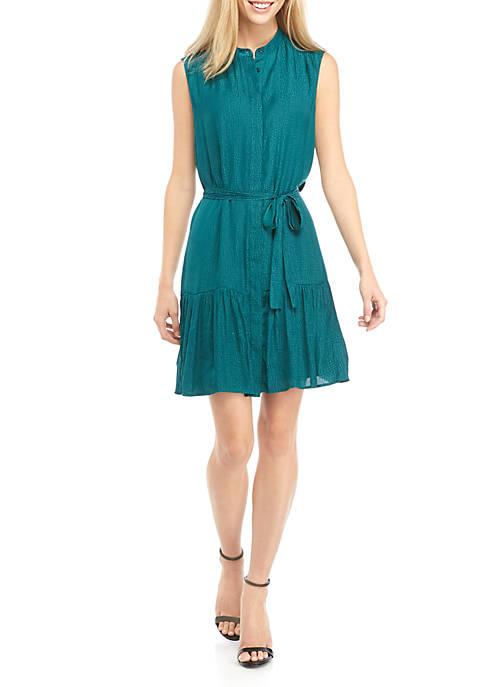 Womens Button Down Shift Belted Dress