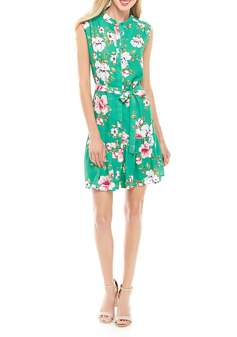 Charles Henry Sleeveless Button Down Shift Floral Dress