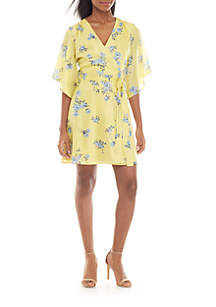 Charles Henry Kimono Sleeve Floral Wrap Dress