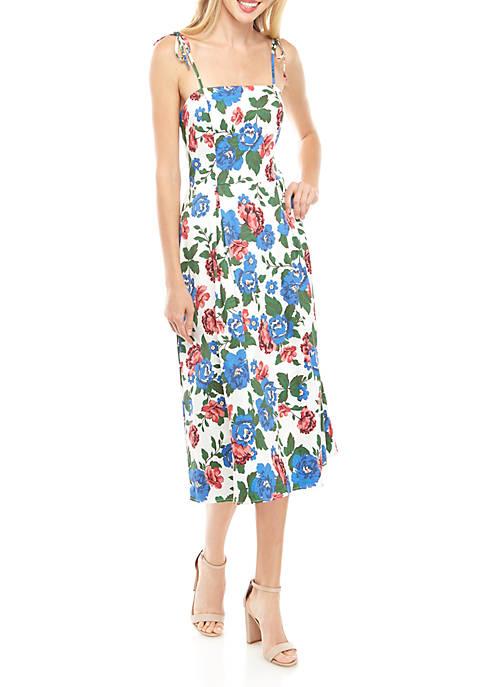 Charles Henry Floral Tie Shoulder Midi Dress