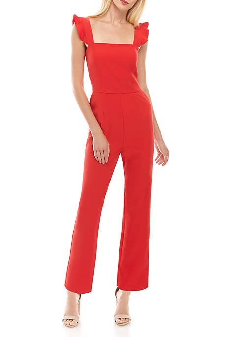 Sleeveless Ruffle Solid Jumpsuit