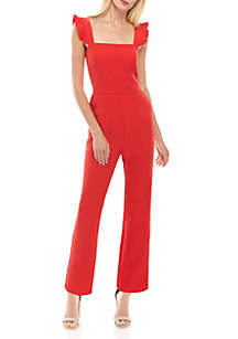 Charles Henry Sleeveless Ruffle Solid Jumpsuit