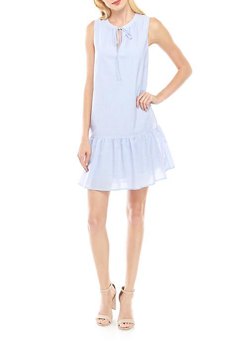 Charles Henry Sleeveless Stripe Drop Waist Dress