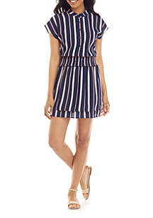 Charles Henry Short Sleeve Stripe Button Down Dress