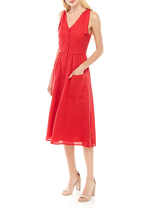 Charles Henry Sleeveless Tie Strap Button Down Midi