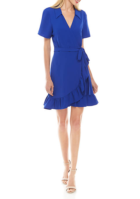 Charles Henry Short Sleeve Collar Ruffle Wrap Dress