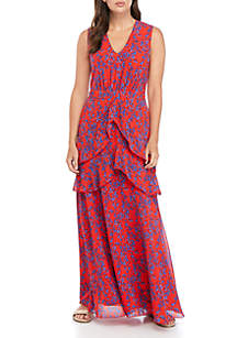Charles Henry Sleeveless Printed Tiered Maxi Dress