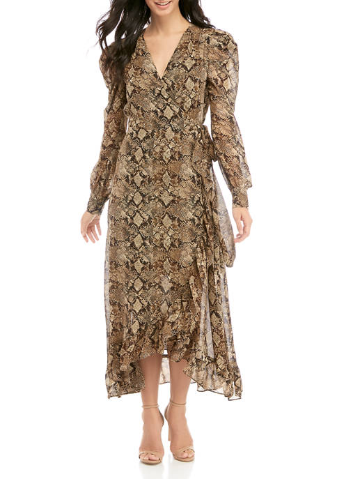 Charles Henry Womens Long Sleeve Wrap Midi Dress