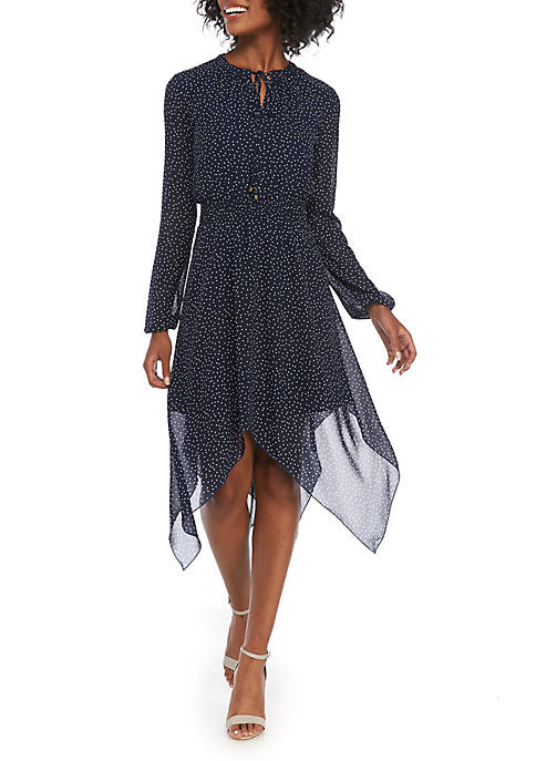Charles Henry Long Sleeve Smocked Waist Dress