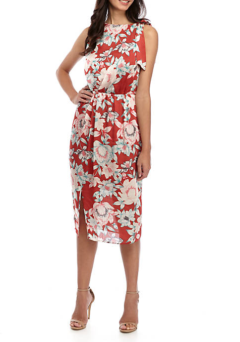 Charles Henry Sleeveless Draped Tie Neck Midi Dress
