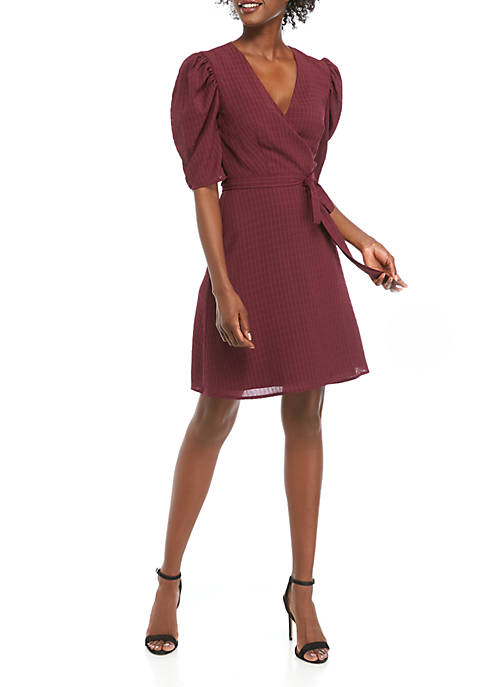 Charles Henry WRAP PULL SLEEVE MINI DRESS
