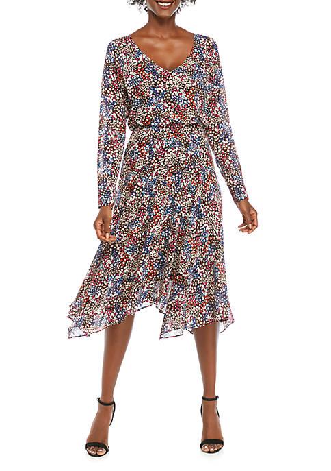 Charles Henry Womens Handkerchief Hem Midi Dress