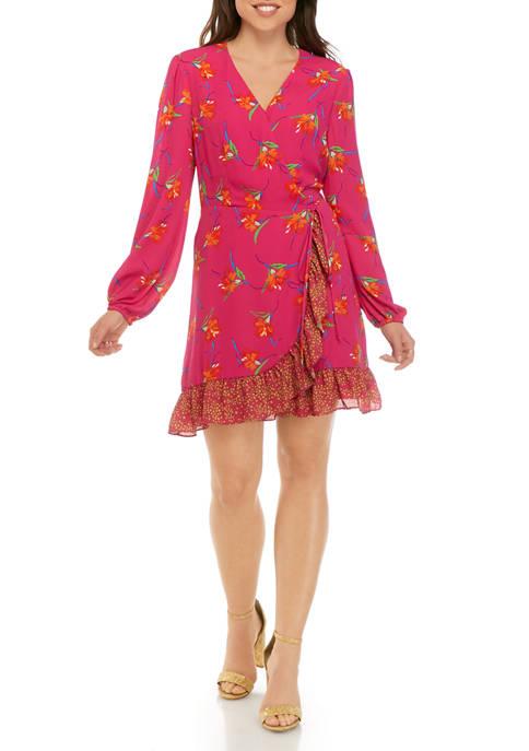 Charles Henry Womens Blouson Sleeve Printed Wrap Dress