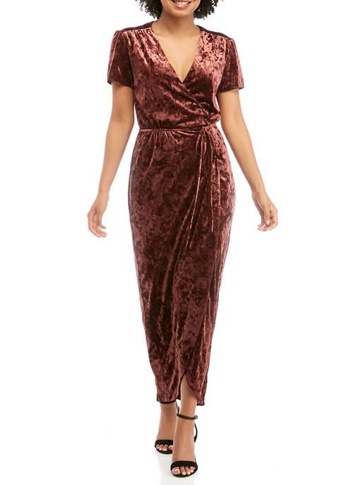 Charles Henry Womens Short Sleeve Velvet Wrap Dress