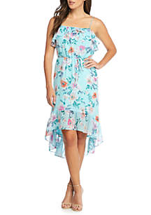 Floral Printed Ruffle High Low Hem Dress