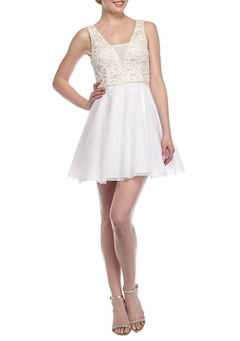 Dear Moon Lace Bodice Cocktail Dress   belk