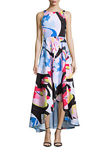 Printed High Low Midi Dress