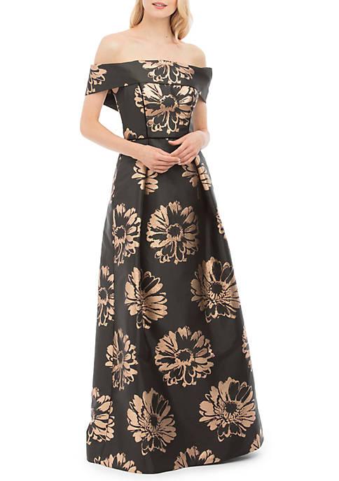Nicole Miller New York Off The Shoulder Print Long Gown | belk