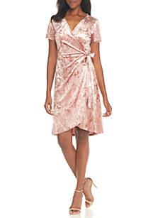 V-Neck Faux Wrap Dress