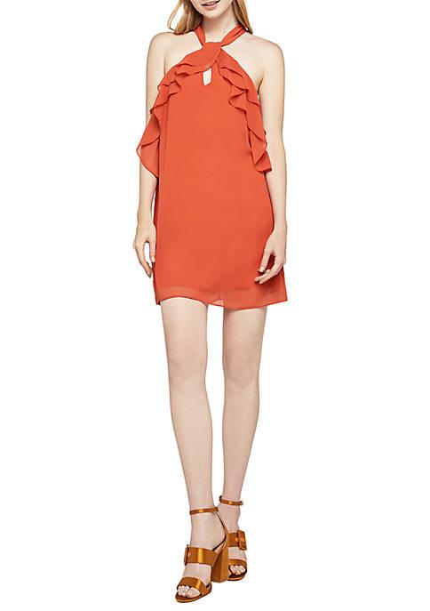 Chili Keyhole Ruffle Dress