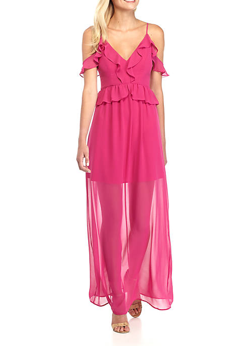 BCBGeneration Cold Shoulder Ruffle Maxi Dress