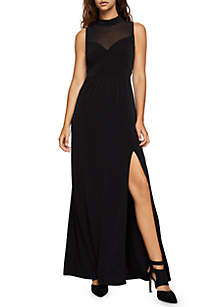 High Neck Mesh Panel Dress