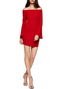 Bell Sleeve Solid Short Dress