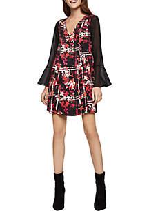 Bell Sleeve Print Dress
