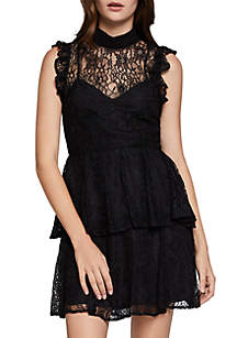 High Neck Lace Tier Dress