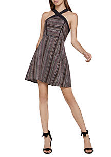 Geo Stripe Jacquard Dress
