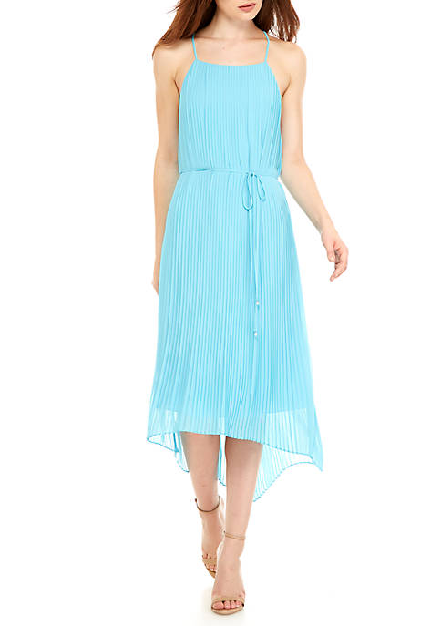 Sam Edelman Solid Pleating Mid Length Dress