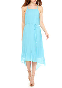 Solid Pleating Mid Length Dress