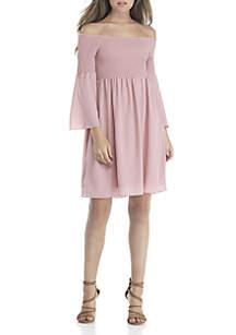 Long Sleeve Off-The-Shoulder Dress