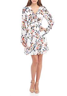 Long Sleeve Floral Printed Chiffon A-line Dress