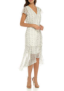 Ditsy Print Ruched Midi Dress