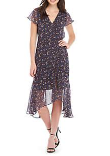 Short Sleeve Print Chiffon Dress