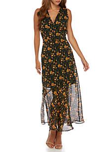 Sleeveless Floral Chiffon Maxi Dress