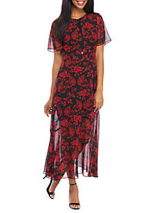 Short Sleeve Midi Dress With Tie Neck